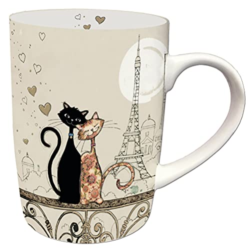 KIUB - MUG01A07 - MUG en Porcelaine en Boite Cadeau 25 CL Bug Arts Chat Paris