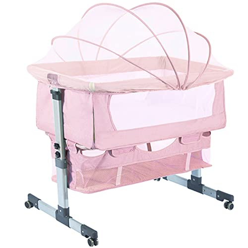 Bedside Sleeper Bedside Cribs, Baby Bassinet 3 in 1 Travel Baby Crib Baby Bed with Breathable Net, Adjustable Portable Bed for Infant/Baby with Detachable Mosquito net and Mattress,Pink