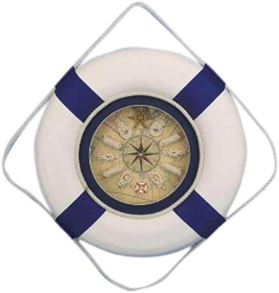 Hampton Nautical Decorative Lifering Clock 18 Blue