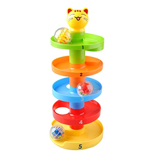 Ball Ramp Toy Drop and Roll Swirl Educational Ball Drop Tower Toy for Baby Infant Toddlers (Random Color)