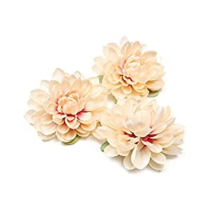 1pcs New Silk Dahlia Artificial Flower for Wedding Party Decoration DIY Flower Wall Dress Brooch-Champagne