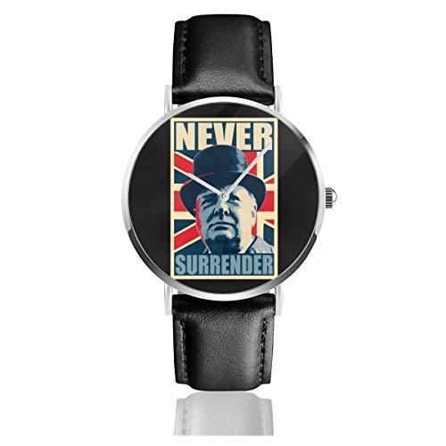 Unisex Business Casual Winston Churchill Never Surrender Union Jack Hope Relojes Reloj de Cuero de Cuarzo con Correa de Cuero Negro para Hombres Mujeres