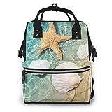 Jojoshop - Mochila para pañales, diseño de estrella de mar y concha marina, grande, multifunción, gran capacidad, impermeable y elegante