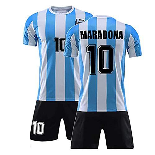 Jersey De Fútbol para Hombre, 1986 Argentina para Maradonas No.10 Uniforme De Fútbol, Ropa Deportiva De Fútbol Infantil, Traje De Fútbol Retro, Camisa + Pantalones 18