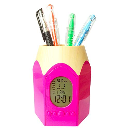 [クイーンビー] ペンスタンド 目覚まし時計 かわいい 鉛筆 型 ペン 立て ホルダー 置き 時計 温度表示 カレンダー アラーム デスク オフィス 事務 用品 多機能 (ピンク)
