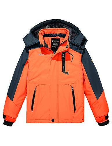 Wantdo Boy's Skiing Jacket Waterproof Snowboard Jacket Warm Winter Rain Coats Outwear Orange 8