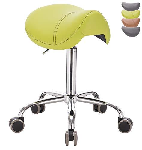 1stuff® Sattelhocker Pony für rückengerechtes Sitzen - Sitzhöhe bis ca. 74cm - Rollhocker Sattelstuhl Arzthocker Friseurhocker Kosmetikhocker Praxishocker Drehhocker (Lederimitat hellgrün)