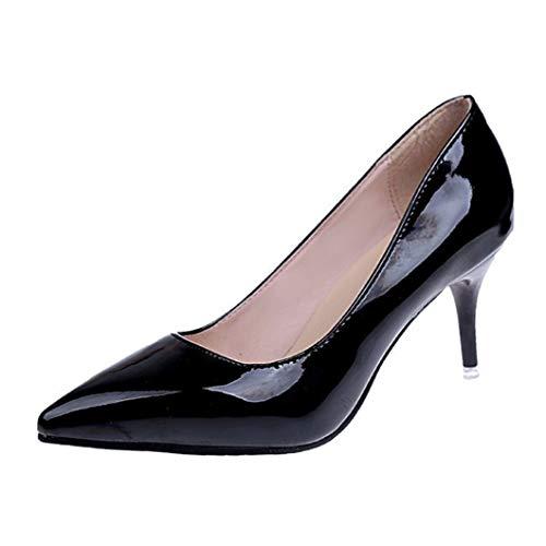 Frauen Pointed Toe Pumps Dünne Absätze Arbeitsschuhe Frühling Herbst Lackleder Flacher Mund Stilettos Slip on High Heels