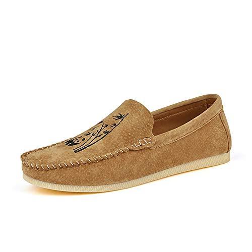 CAOJJ Mocasines casuales para hombre con cordones de cuero vegano con punta redonda para conducción, zapatos elásticos planos flexibles, marrón, 105