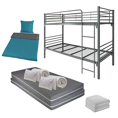 BB Sport Komplettset: Etagenbett Stockbett inklusive 2 Matratzen, 2 Betten-Sets, 2 Spannbettlaken und 2 Bettwäschegarnituren