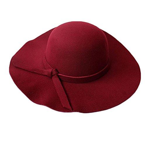 Leisial Sra Sombrero Fieltro Imitación de Lana Ocio Vintage Británico Sombrero de ala Grande Sombrero Jazz para Mujer...