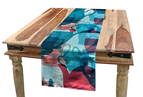 ABAKUHAUS Theekransje Tafelloper, serviesgoed Silhouettes, Eetkamer Keuken Rechthoekige Loper, 40 x 225 cm, Dark Coral Pale Blue