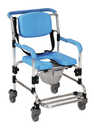 Homecraft Ocean Wheeled Shower Commode Chair, Padded Shower Seat with Wheels and Built In Toilet, Shower Chair and Toilet, Bath Stool for Bathing, Elderly, Disabled, and Limited Mobility