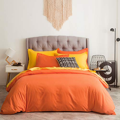 SUSYBAO 2 Pieces Duvet Cover Set 100% Natural Cotton Twin/Single Size 1 Duvet Cover 1 Pillow Sham Vibrant Orange Hotel Quality Super Soft Breathable Comfortable Durable Solid Bedding with Zipper Ties