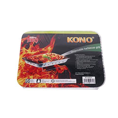Kono - Sofort leichter Einweggrill für Partys Outdoor Garten Reisen Camping Klappgrill - 31 x 25 cm