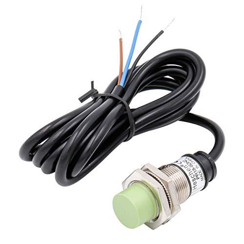 Heschen Sensor de proximidad inductivo PR18-8DN2 tipo cilíndrico, detección de 8 mm, M18 redondo, no apantallado, 12-24VDC 3 hilos, NPN NC(normalmente cerrado) CE