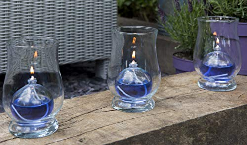 CLEARCRAFT 3 x INDOOR OR GARDEN OIL CANDLE LAMPS FOR USE WITH SMOKELESS,ODOURLESS LAMP OIL PERFECT LIGHTS FOR BARBECUES