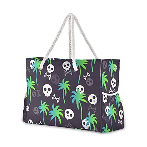 Mnsruu Bolsa de playa de viaje, divertida bolsa de playa de hombro grande, asas de cuerda de algodón para mujer