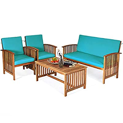 Tangkula Outdoor 4 PCS Acacia Wood Sofa Set w/Water Resistant Cushions, Padded Patio Seating Chat Set w/Coffee Table for Garden, Backyard, Poolside (1, Turquoise)