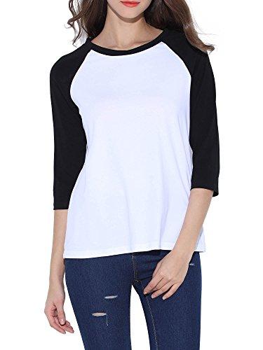 MSBASIC Camiseta de algodón con Cuello Redondo, Mangas 3/4, Camiseta de béisbol Camisas raglanas 8018-1 X-Large