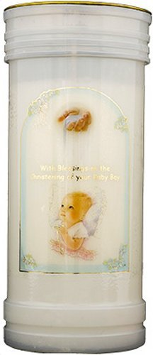 Christening Candle - Baby Boy - Christening Pillar Candle with Gold Foil Highlights