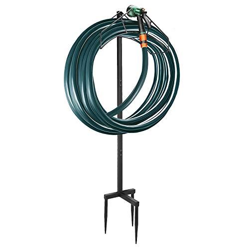Freestanding Garden Hose Hanger Holder, Detachable Water Hose Storage Stand Rack Heavy Duty Metal Garden Hose Holder For Outside Yard, Black