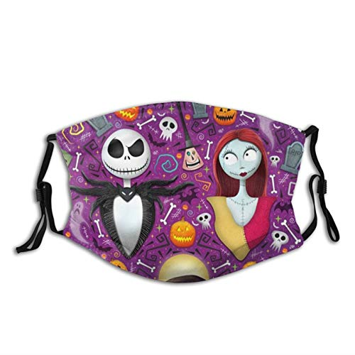 Nightmare Before Christmas Face Mask Protective Mouth Cover with Adjustable Earloops with 2 Filter for Men Women -16