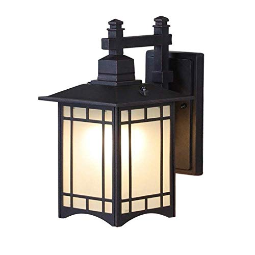 GYPPG Luz de Pared Impermeable China Retro Caja de Metal Cuadrada 13'Alto Negro Patio Exterior Porche Mission Aplique Estilo japonés Farol de Vidrio Esmerilado Panel Escalera Pasillo Balcón Jardí