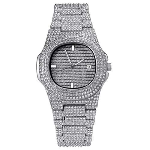 HEMOBLLO reloj de cristal de diamantes de imitación reloj de lujo reloj de pulsera de cuarzo analógico reloj de hipopótamo con pulsera de acero inoxidable (plata)