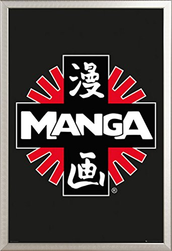 Manga Poster Logo + accessoires ALU-Rahmen silber