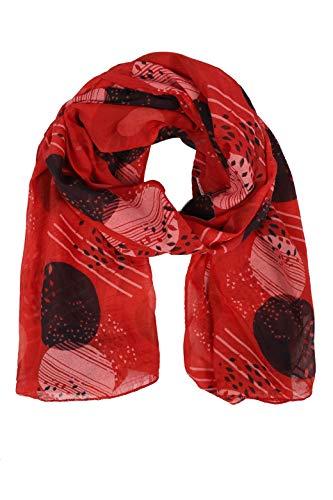Zwillingsherz Seiden-Tuch im stilvollen Design - Hochwertiger Schal für Damen Mädchen - Halstuch - Umschlagstuch – Pashmina - Loop - weicher Schlauchschal für Frühjahr Sommer Herbst Winter - rot
