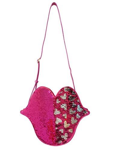 Bandolera bolso de mujer grande en forma de beso rosa con lentejuelas reversibles