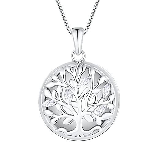 YL Lebensbaum Medaillon Kette Zum Öffnen für Bilder 925 Sterling Silber Foto Medaillon Aufklappbar