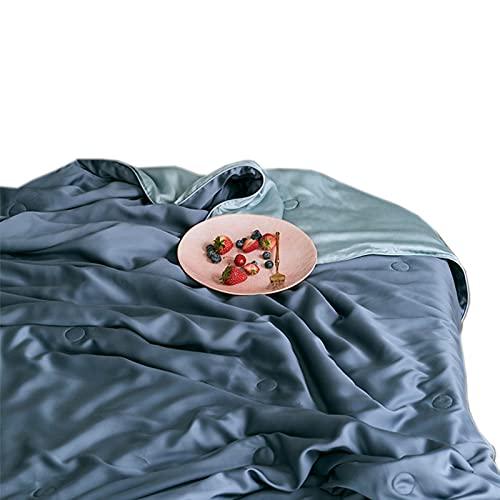 60 Edredones De Verano De Alta Gama Edredones De Aire Acondicionado De Verano Edredones Frescos De Verano Edredones Lavables Transpirables Y Finos Sedosos Y Suaves, 220X240cm,Blue 2