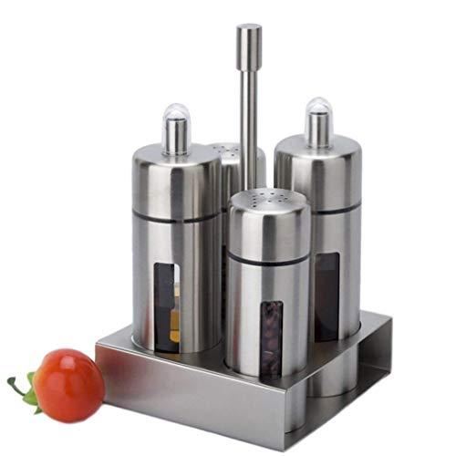 Basic Menage Set, Roestvrij Staal En Acryl, Olie En Azijn Dispensers, Zout En Peper Shakers Kruidenrek, 4-Delig