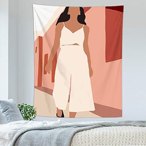 KHKJ Tapiz Colgante de Pared con Personalidad nórdica, Paisaje de Arte Abstracto, Revestimiento de Pared para Mujer, Tapiz, Manta, decoración para Dormitorio, A23 95x73cm