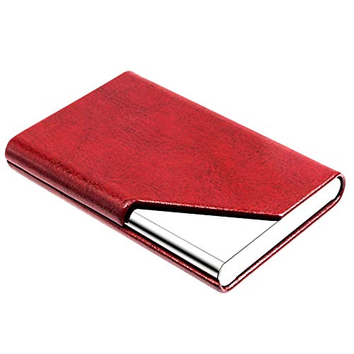 Padike Business Name Card Holder Luxury PU Leather & Stainless Steel Multi Card Case,Business Name Card Holder Wallet Credit Card ID Case/Holder for Men & Women - Keep Your Business Cards Clean