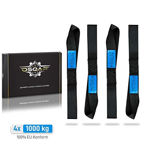 OSQAR® 4X Zurrschlaufen | 1000kg | 35 x 3,5cm | 100% DIN EN12195-2 konform | Befestigungs-schlaufen für gewerbliche Nutzung & 100% sicheren Motorrad-Transport!