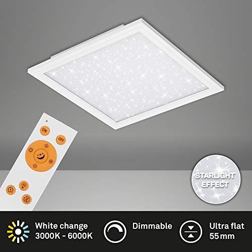 Briloner Leuchten - LED Panel, Deckenlampe inkl. Sternendekor, Deckenleuchte dimmbar, Farbtemperatursteuerung (CCT), inkl. Fernbedienung, 18 Watt, 1.800 Lumen, Weiß, 295x295x55mm (LxBxH)