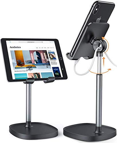 Tablet holder Phone Stand, [Height Angle Adjustable] Tablet stand Phone holder for Desk,[Stable Base] Ipad stand compatible with iPad 9.7/10.5, Air mini 2 3 4, iPhone, Galaxy, Switch, 4'-12' inch