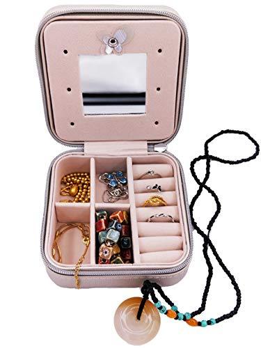 Muzboo Joyero pequeño para niña, portátil, de viaje, organizador de joyas de piel sintética con cremallera (gris-blanco)