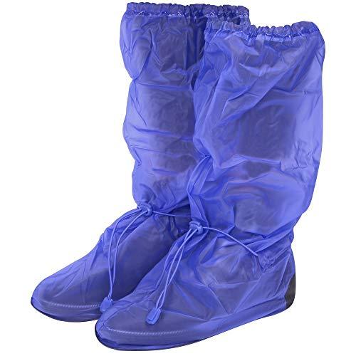 PERLETTI Copriscarpe Impermeabili in PVC - Resistenti e riutilizzabili - Copriscarpa con Suola Antiscivolo Rinforzata - Galosce Pioggia Neve e Fango - Modello Alto - Blu (S (36-39), Blu)