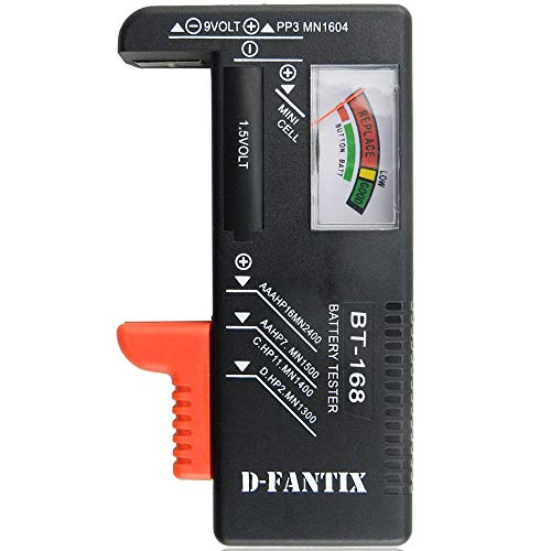D-FantiX Battery Tester, Universal Battery Checker for AA AAA C D 9V 1.5V Button Cell Batteries (Model: BT-168)