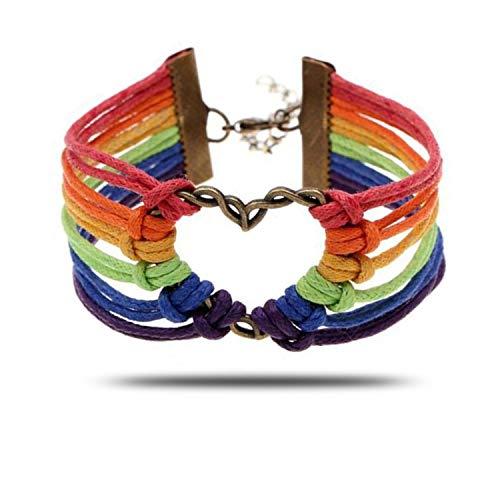 JinYu - Pulsera de arco iris con corazón, joyería de orgullo lesbiano, brazalete de orgullo arcoíris y regalos perfectos para lesbianas