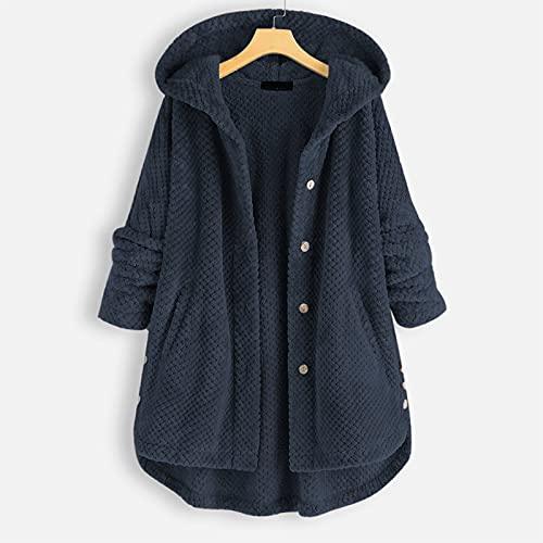 Abrigo de mujer con solapa, abrigo, chaqueta de forro polar con capucha, chaqueta cálida para...