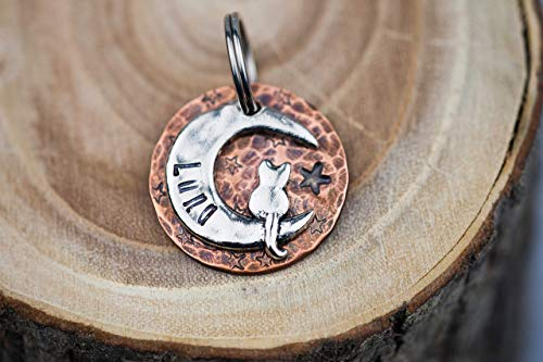 Pugs2Persians Custom Cat Tag - Cat on the Moon (Silver-tone) - 7/8' Copper - Hand Stamped - Luna