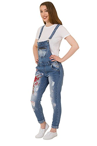 Regular Denim Damen Bestickte Latzhosen - Slim Fit Abnutzungs-Effekt Bib Overall Zara-XS-8