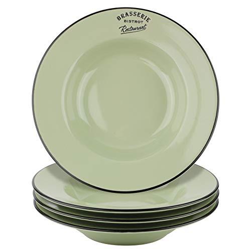 Juego de 4 platos creativos, platos hondos grandes de desayuno de 28,25 cm, pintados a mano, de cerámica