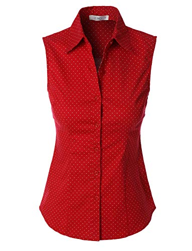 LE3NO Womens Sleeveless Casual Work Shirt Top, RED, X-Small