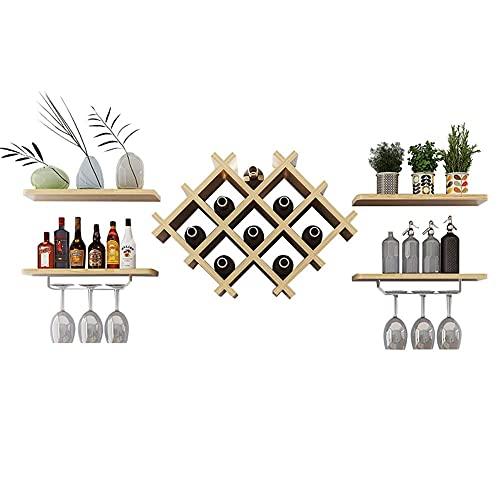 Estantes de vino de mesa para montar en la pared, estantes de almacenamiento de cocina, estantes de vino, estantes antiguos para decoración de pared para cocina/bar/restaurante